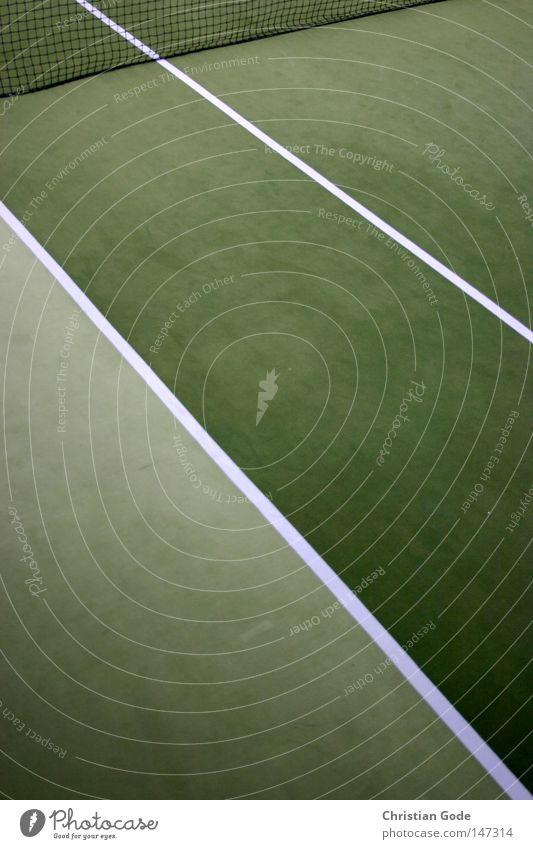 30:0 weiß grün Winter Sport Spielen springen Linie Freizeit & Hobby Geschwindigkeit Erfolg Netz diagonal Lagerhalle Tennis Teppich Aufschlag