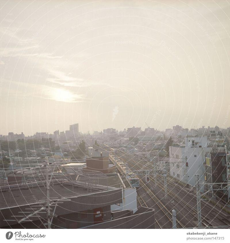 Kichijoji Luft Stimmungsbild orange Abend Eisenbahn Japan Tokyo Dämmerung Sonnenuntergang Zug