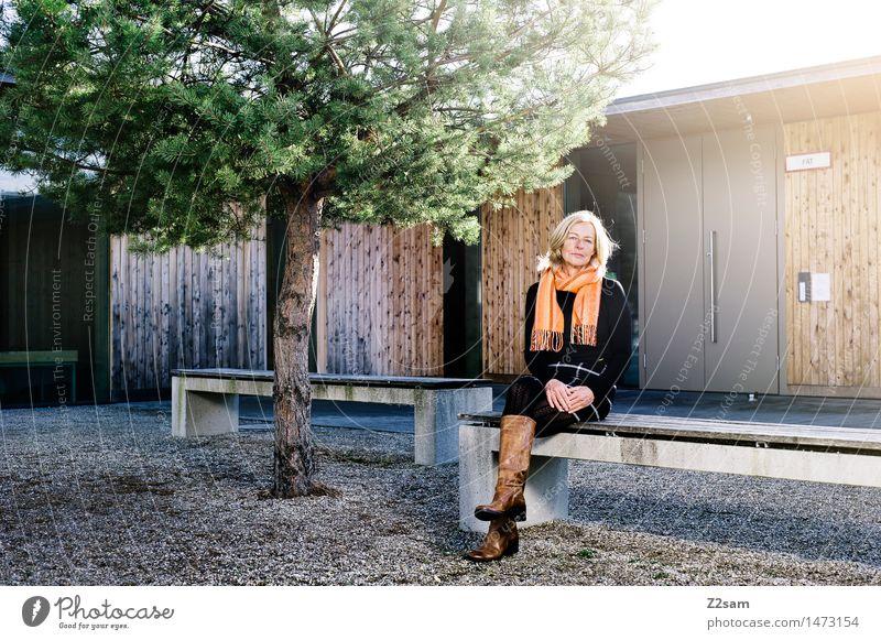 Traudl Lifestyle elegant Stil feminin Frau Erwachsene 45-60 Jahre Sonnenlicht Herbst Schönes Wetter Baum Bank Mode Pullover Rock Schal blond Erholung genießen