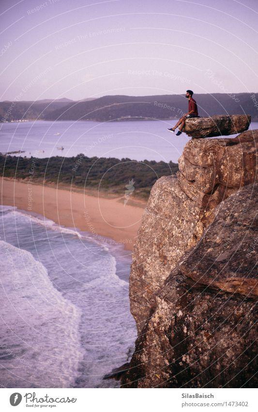 Sonnenaufgangs-Liebhaber Stil exotisch Freude Glück Ferien & Urlaub & Reisen Ausflug Abenteuer Ferne Freiheit Sommerurlaub Strand Meer Insel Wellen Junger Mann