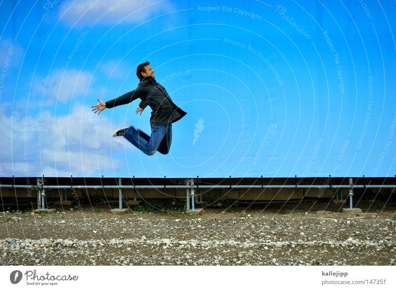 BLN08_alles nur fassade Mensch Himmel Mann blau Ferien & Urlaub & Reisen Freude Wolken lachen springen Wetter Wind Fassade fliegen Flugzeug Erfolg Luftverkehr