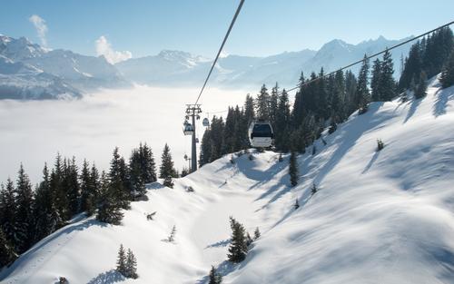 Bergbahn Himmel Natur blau weiß Landschaft Winter Wald Berge u. Gebirge Schnee Sport Schönes Wetter Gipfel Alpen Schneebedeckte Gipfel Skifahren