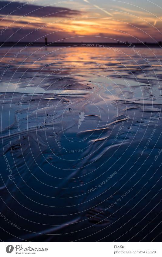 *444* - Strukturen der Nordseeküste Natur Ferien & Urlaub & Reisen blau Wasser Meer Wolken Ferne Strand Umwelt natürlich Küste Stimmung Sand orange Erde Wellen
