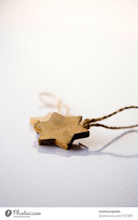 weihnachts stern Weihnachten & Advent weiß Baum Holz gold Stern (Symbol) Dekoration & Verzierung Schnur Schmuck Jahreszeiten Saison Weihnachtsdekoration