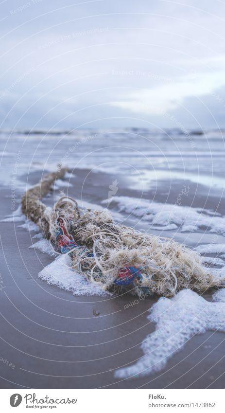 Tauziehen mit dem Strand Ferien & Urlaub & Reisen Tourismus Ausflug Umwelt Urelemente Erde Sand Wasser Küste Nordsee Meer Schifffahrt Linie Schnur Knoten