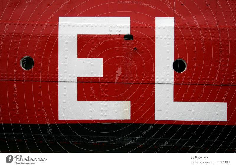E L rot schwarz weiß Wasserfahrzeug Aufschrift Typographie Buchstaben Großbuchstabe Ladung Industrie Schifffahrt Schriftzeichen Punkt schiffsladung