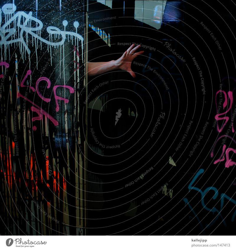 BLN08_geisterbahn Hand schwarz Mensch Gefühle fangen greifen Griff festhalten stoppen Finger Farbe Farbstoff Farben und Lacke Graffiti Aufschrift Toilette