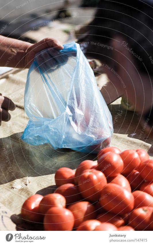 Paradeiser Tomate Gemüse Ernährung Lebensmittel Handel verkaufen rot Tüte Kunststoff Plastiktüte blau Händler Schatten Zagreb Kroatien Ferien & Urlaub & Reisen