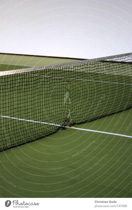 40:0 weiß grün Winter Sport Spielen springen Linie Freizeit & Hobby Geschwindigkeit Erfolg Netz diagonal Lagerhalle Tennis Teppich Aufschlag