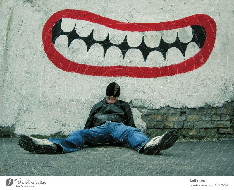 grins nicht so blöd! Mensch Mann blau Freude Wand Graffiti lachen Kunst Mund sitzen Fröhlichkeit Zähne Lebewesen Rausch Mütze Alkoholisiert