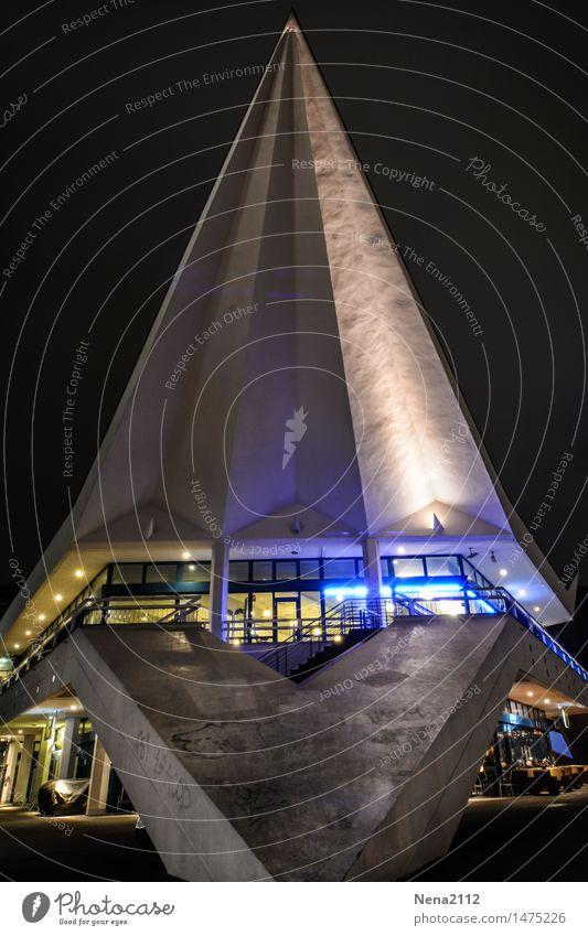 Berlin - Pavillon Fernsehturm Stadt Hauptstadt Bauwerk Gebäude Architektur Sehenswürdigkeit Wahrzeichen dunkel Berliner Fernsehturm Beleuchtung Beton
