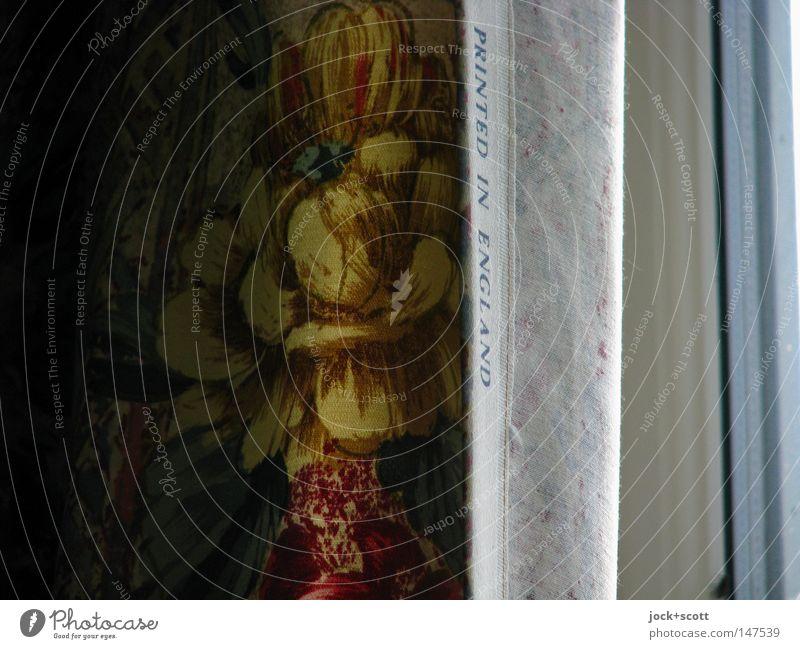 Vorhang English Rose Dekoration & Verzierung Fenster Stoff Schriftzeichen Ornament Rückseite Leinen Falte wellig hängend vertikal Sichtschutz Gedeckte Farben