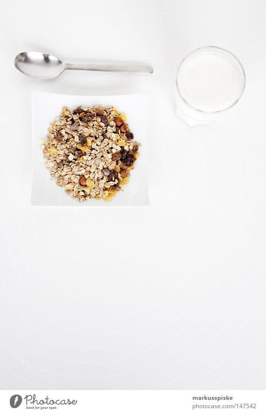 müsli mit milch Frühstück Getränk Löffel Milch Teller Gesundheit Ernährung Korn Rosinen Haferflocken Weizen Roggen Nuss Haselnuss Rohkost Vollwertkost Kerne