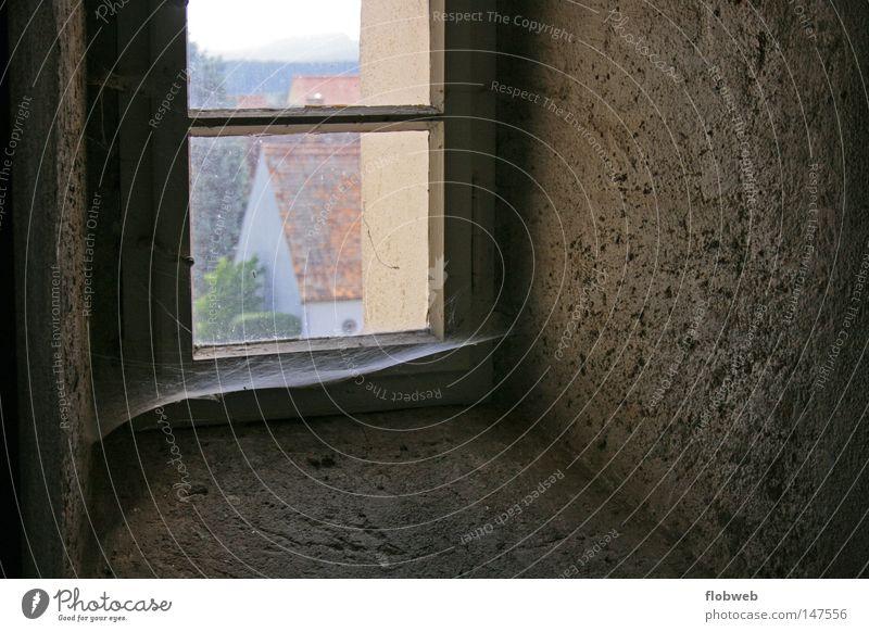 Fensterblick alt Haus dunkel braun dreckig Architektur Kirche Aussicht Spinnennetz Spinngewebe Kirchenfenster