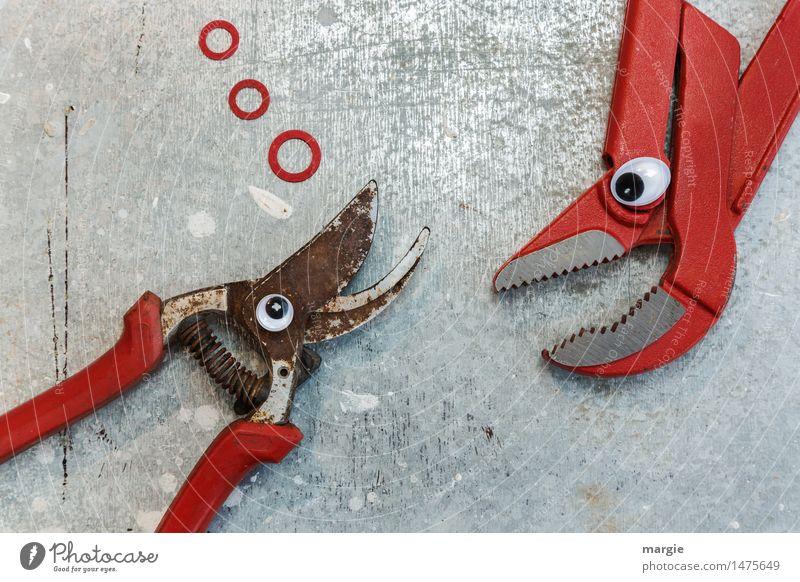 Hey du! Eine Schere und eine Sanitär- Zange mit Augen auf silbernen Hintergrund Beruf Handwerker Baustelle Dienstleistungsgewerbe Medienbranche Werbebranche