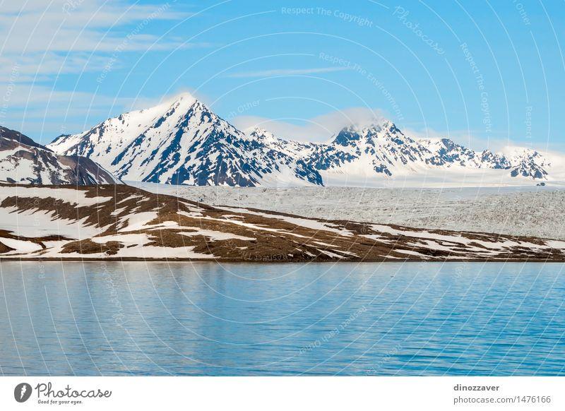 Arktische Berge Ferien & Urlaub & Reisen Meer Winter Schnee Berge u. Gebirge Umwelt Natur Landschaft Klima Gletscher Küste frieren blau weiß Eis polar