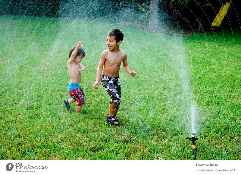 Sprinklerspaß Sommer Wasser Hinterhof spielend Freude USA Jungen Sprinkleranlage Kinder