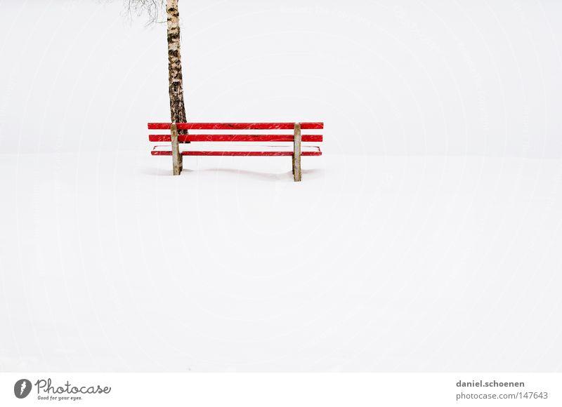 rote Bank Schnee Winter Kontrast weiß ruhig Einsamkeit Frieden Jahreszeiten baum. leere friedlich