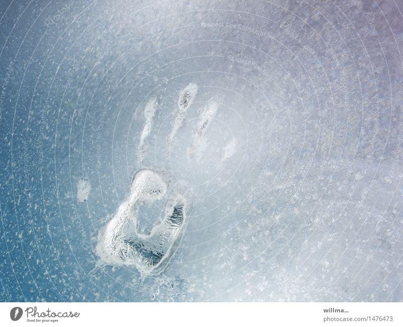 das eiskalte händchen Hand Winter Eis Frost Fensterscheibe Handabdruck gefroren hell-blau Fingerabdruck Kriminalroman Strukturen & Formen Menschenleer