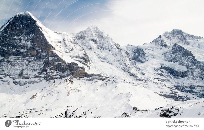Mönch, Eiger, Jungfrau Himmel weiß Sonne Winter Berge u. Gebirge Schnee Hintergrundbild hell Wetter Eis wandern groß Gipfel Alpen Klettern Schweiz