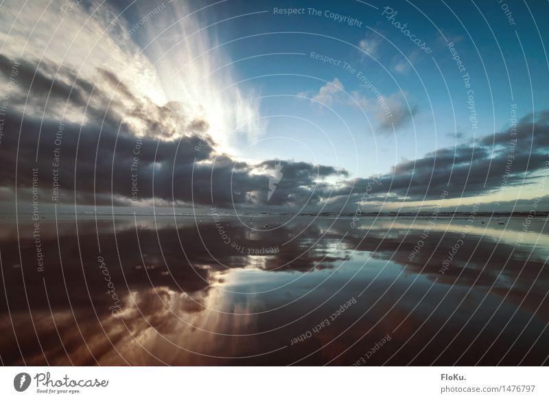 Nordseespiegelung Himmel Natur Ferien & Urlaub & Reisen blau schön Wasser Sonne Meer Landschaft Wolken Ferne Strand Umwelt natürlich Küste Freiheit