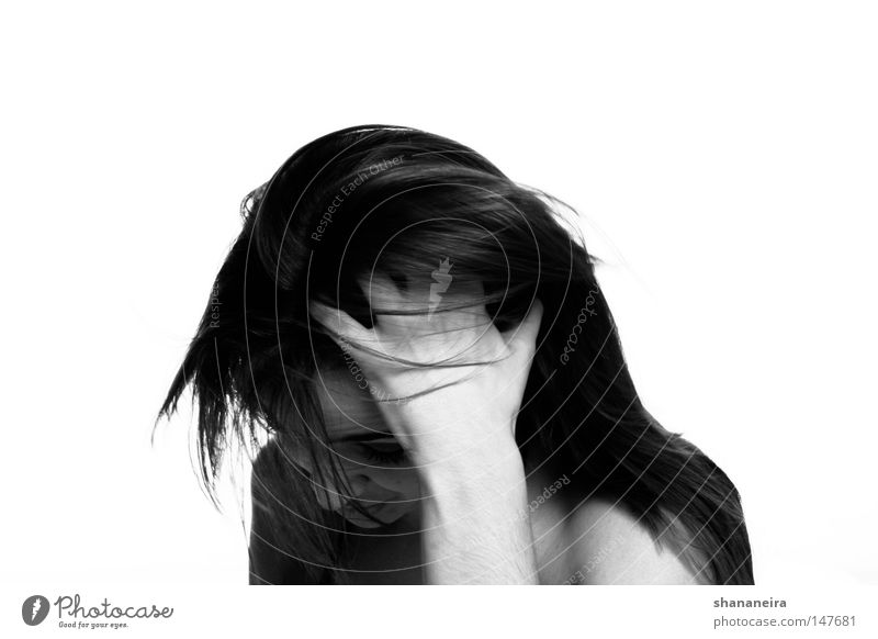 etwas verlegen... Frau Mensch schön Gefühle Haare & Frisuren Denken ästhetisch Schüchternheit