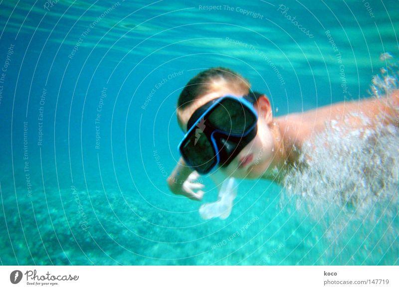 Unter Wasser tauchen Taucherbrille Luftblase Meer Wellen Sommer Ferien & Urlaub & Reisen Spielen blau Schwimmen & Baden