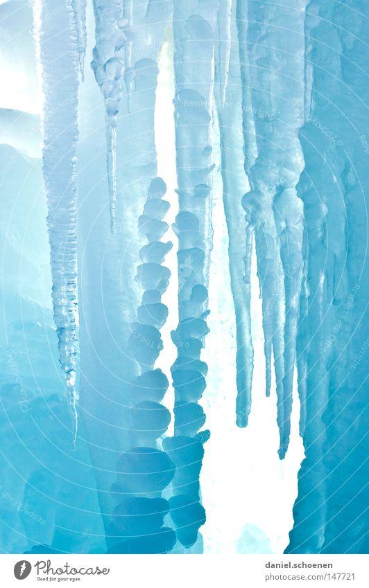 Eiskarte Winter blau zyan weiß Frost Wasser Eiszapfen Klarheit durchsichtig Strukturen & Formen Farbe Gletscher Meteorologie Klima