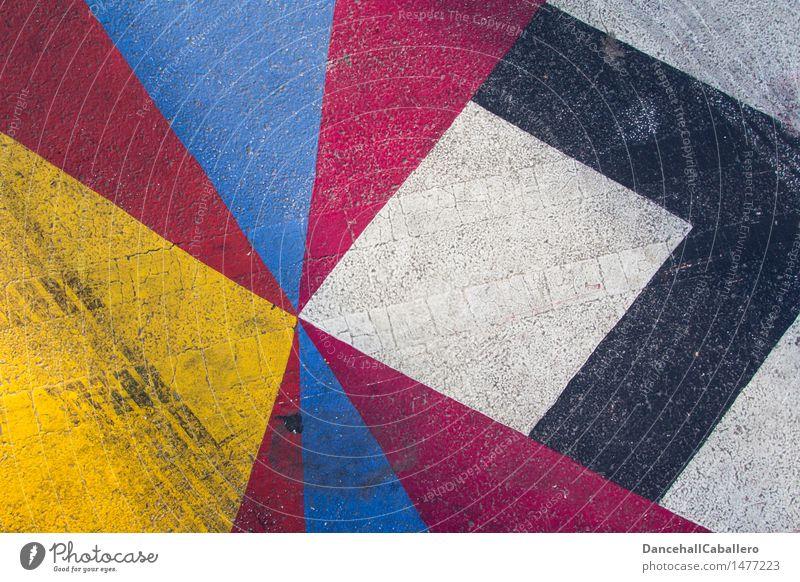 Die wunderbare Welt der Geometrie l 1 Verkehr Straße Reifenspuren ästhetisch dreckig Kitsch blau gelb rot schwarz weiß Design Grafik u. Illustration Lifestyle