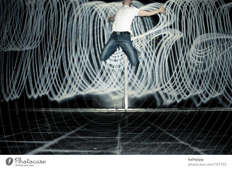 engelchen flieg Mensch Mann Freude Wand Graffiti Bewegung springen Party Feste & Feiern Tanzen fliegen Design Flugzeug Tanzveranstaltung Erfolg