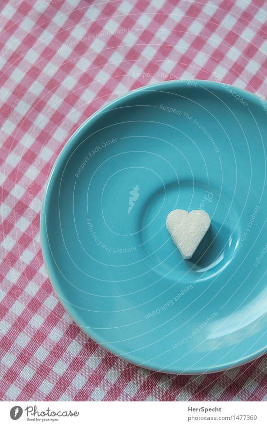 Kitsch geht immer Süßwaren Kaffee Teller Dekoration & Verzierung niedlich süß rosa türkis weiß Untertasse Herz Würfelzucker Tischwäsche kariert Espresso