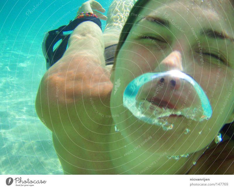 bubble tauchen Meer türkis Mallorca Luftblase Wasser Blase diving