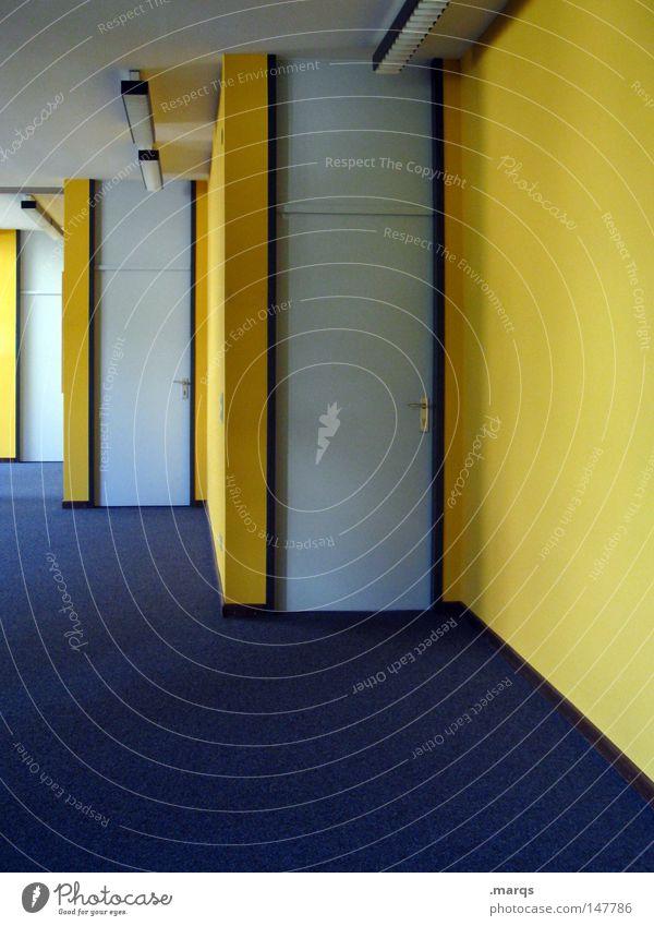 1, 2 oder 3? blau gelb Farbe Wand Büro Linie Tür Bodenbelag Eingang Flur Teppich Ausgang