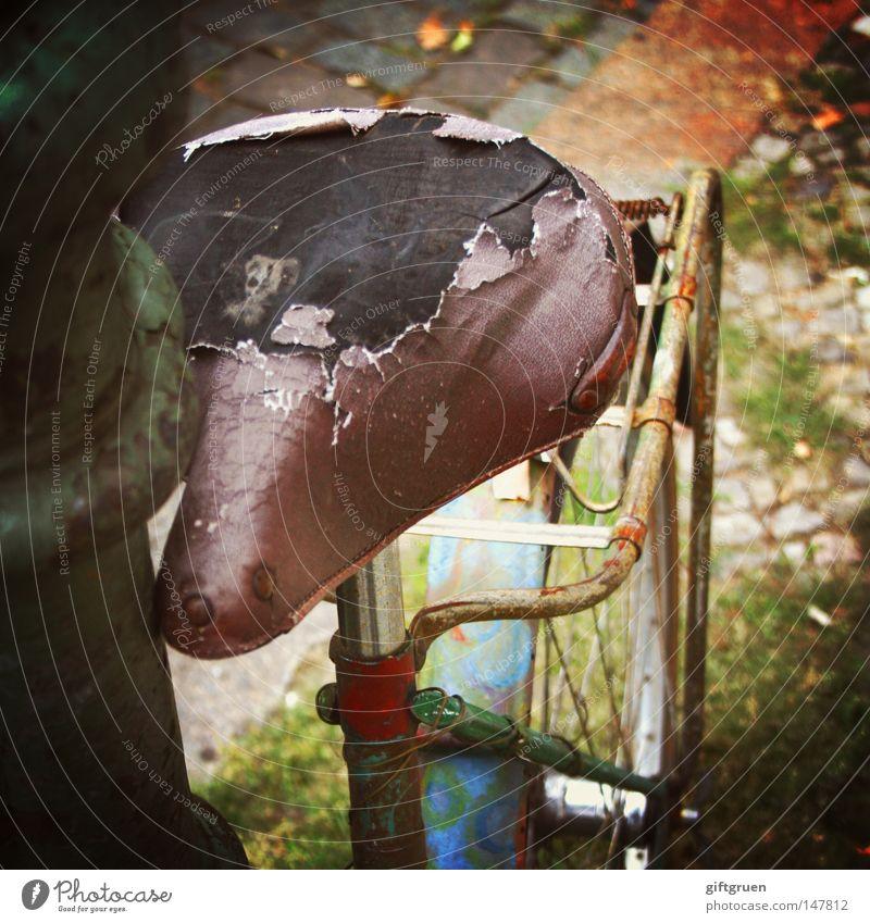 altes eisen Fahrrad Eisen kaputt Rost Müll unbrauchbar Fahrradsattel Laterne Laternenpfahl wegwerfen ausgemustert Reparatur Rust Verkehr Lomografie