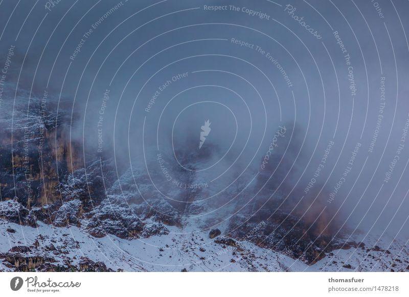 wenn's dem Morgen graut Ausflug Abenteuer Winter Schnee Winterurlaub Berge u. Gebirge wandern Landschaft Wolken schlechtes Wetter Wind Nebel Sträucher Felsen