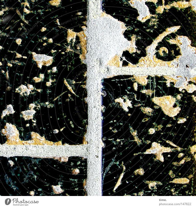 Weltraumschrott (Enterprise, Seitenfenster) schwarz grau Stein Linie dreckig Beton Ecke Fliesen u. Kacheln Verbindung schlecht Mischung beige vertikal unklar Fuge unordentlich
