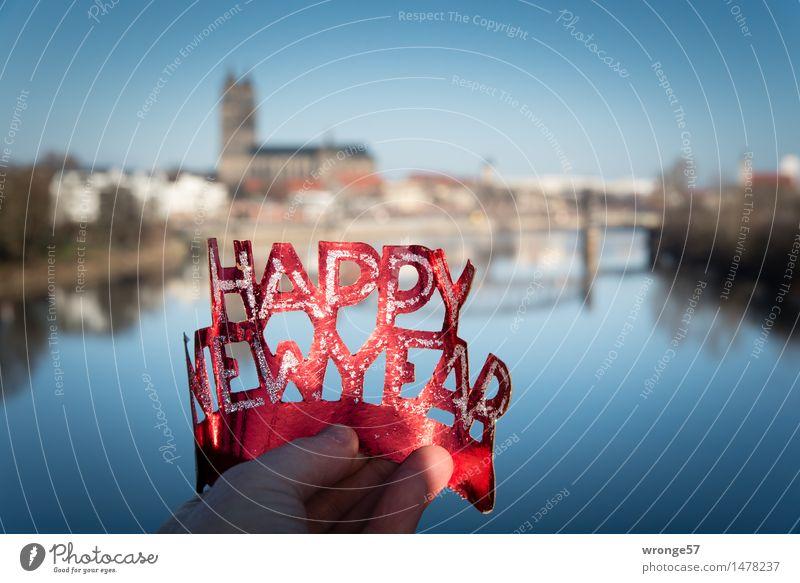 HAPPY NEW YEAR Magdeburg Deutschland Europa Dom Brücke Stadt blau rot schwarz Lebensfreude Wunsch Silvester u. Neujahr Panorama (Aussicht) Fluss Elbe Farbfoto