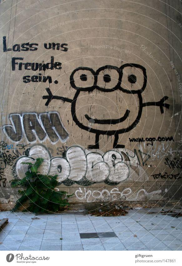 vorschlag Freundschaft Gefühle Zusammensein Zusammenhalt Sympathie Partnerschaft mögen Aufschrift Gemälde Monster Strichmännchen Wand Mauer Graffiti