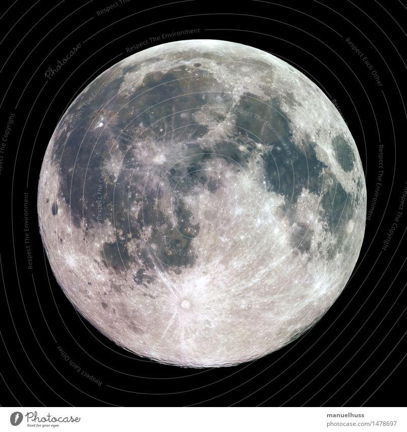 Vollmond Nachthimmel Mond dick gigantisch groß blau braun grau grün schwarz weiß Mondlandschaft Krater Mare Mineralien Oberflächenstruktur Wissenschaften