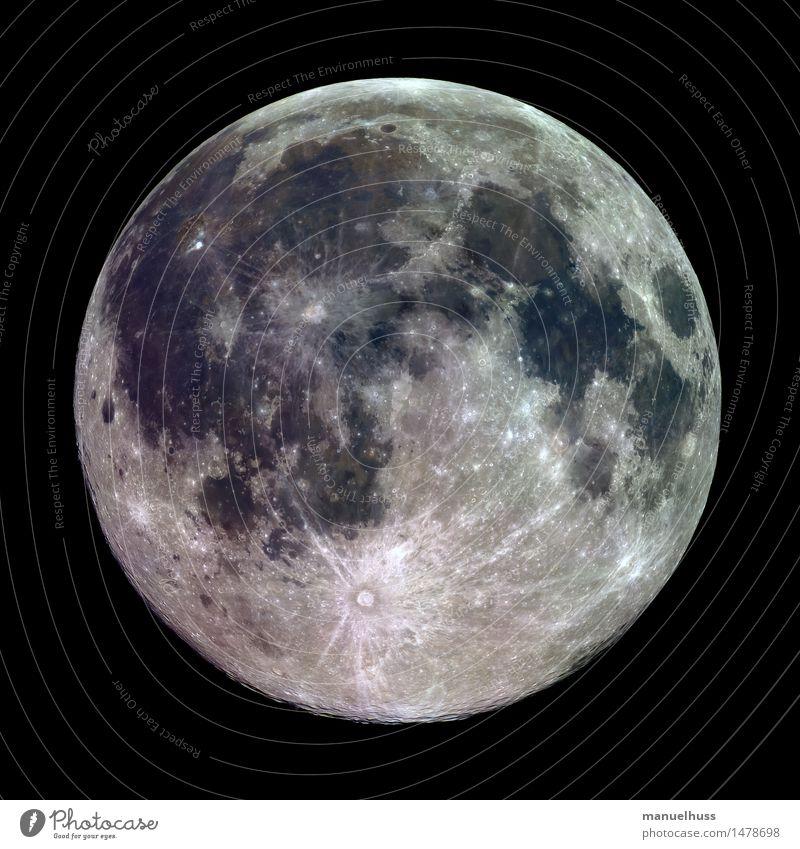 Mineralischer Vollmond Nachthimmel Mond dick gigantisch groß rund blau braun grau grün schwarz weiß Mondlandschaft Krater Mare Mineralien Oberflächenstruktur