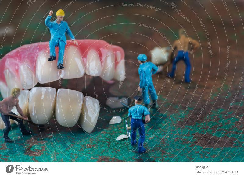 Miniwelten - Zahnsanierung III Arbeit & Erwerbstätigkeit Beruf Handwerker Baustelle Dienstleistungsgewerbe Gesundheitswesen Mann Erwachsene 5 Mensch bauen blau