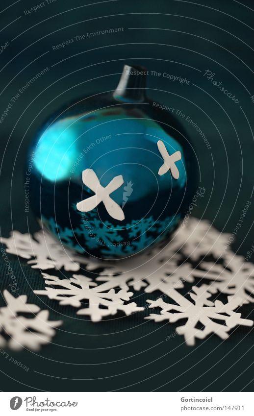 Blue Christmas Weihnachten & Advent schön Winter Schnee Feste & Feiern glänzend Kitsch Dekoration & Verzierung türkis Christbaumkugel Schneeflocke festlich
