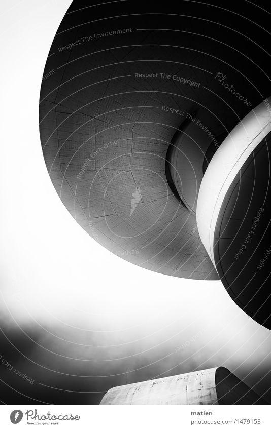 Schwungrad Haus Hochhaus Turm Bauwerk Gebäude Architektur Mauer Wand Fassade modern Centro Niemeyer Himmel (Jenseits) rund Aviles Schwarzweißfoto Außenaufnahme