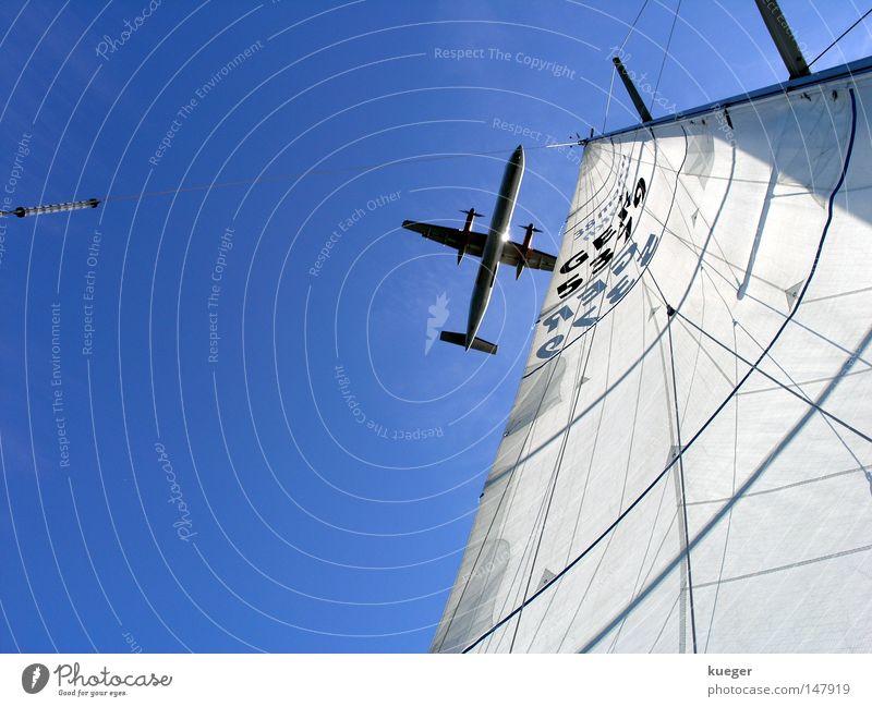 Segelzeug Flugzeug Himmel Fernweh frei Treffpunkt Bewegung Freude Wassersport sailaway weiß Wasserfahrzeug Kopenhagen blau azurblau grau fliegen Freiheit Ferne