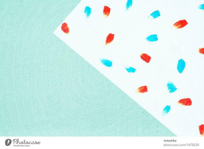 Pinsel Klecks auf Leinen Textil Design stricken Dekoration & Verzierung Maler Mode Stoff trendy retro Sauberkeit blau rot türkis weiß Gelassenheit Farbe Kunst