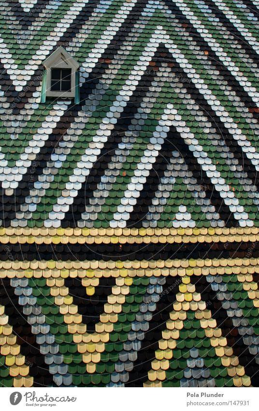 Taubenklo weiß grün Farbe schwarz gelb Kirche Dach Kot Denkmal Wahrzeichen Wien Dom Geometrie Dreieck Moral