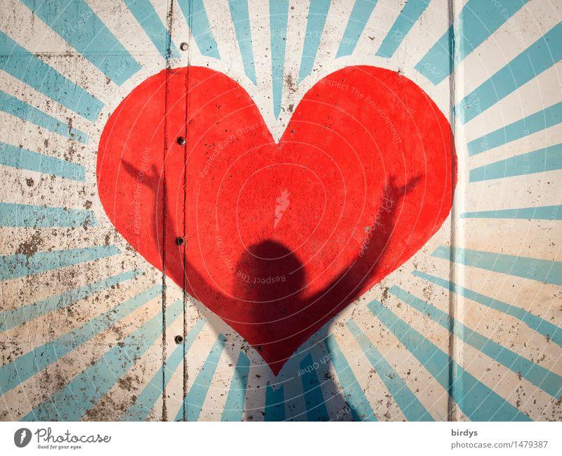 wenn das Herz zu singen beginnt Mensch blau weiß rot Liebe Graffiti Gefühle feminin lachen Glück grau außergewöhnlich leuchten Erfolg ästhetisch Tanzen
