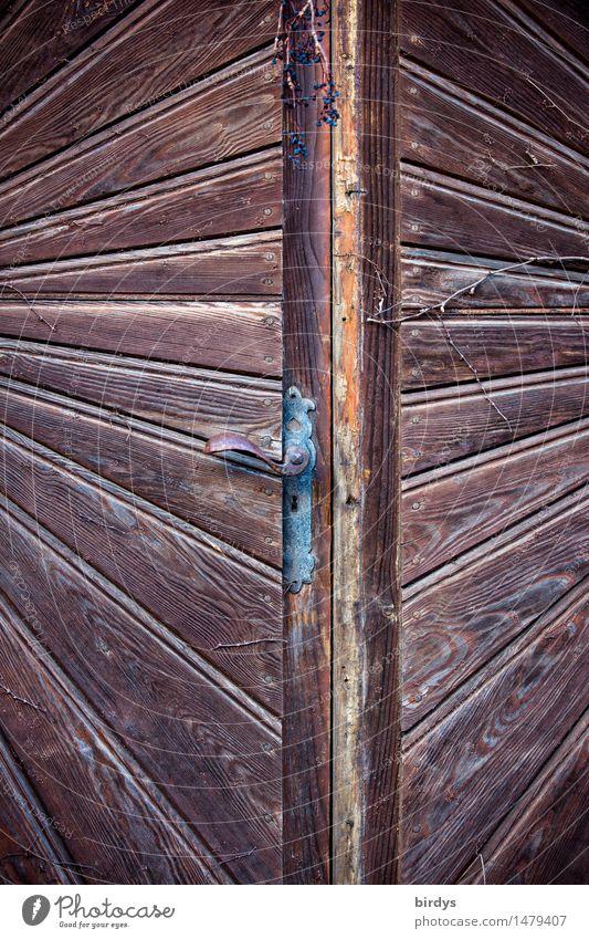 Zweiblick Häusliches Leben Holztür Tür Griff Linie ästhetisch außergewöhnlich einzigartig braun erleben Kreativität Perspektive Irritation Illusion Design