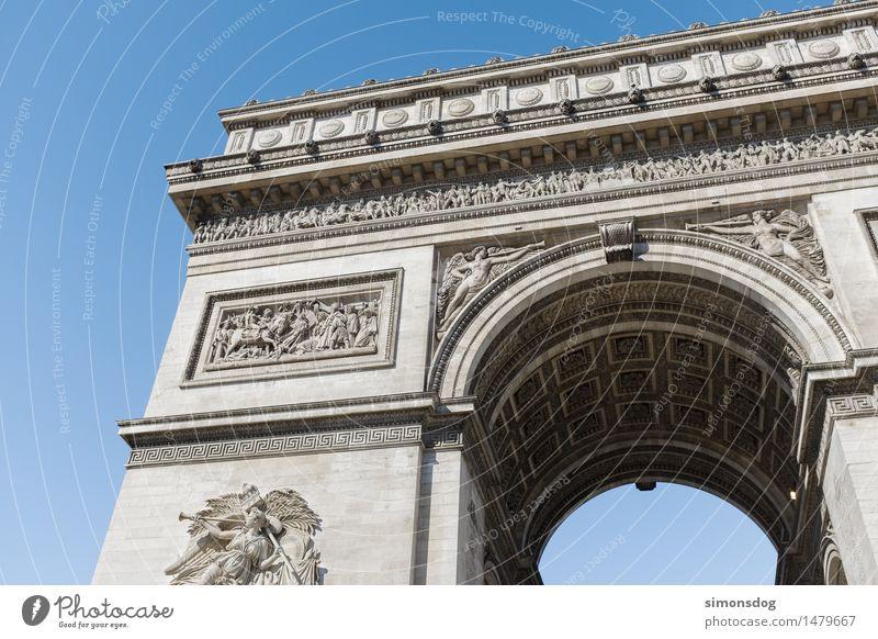 Arc de Triomphe de l'Étoile Stadt Architektur Wand Mauer Fassade Tourismus Kultur Bauwerk Wahrzeichen Denkmal Sehenswürdigkeit Paris Erinnerung Politik & Staat