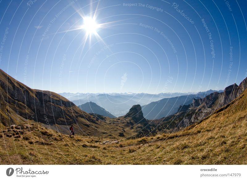 bergsteigertraum schön Himmel Sonne Ferien & Urlaub & Reisen Herbst Berge u. Gebirge See wandern groß frei Felsen hoch Freizeit & Hobby Klettern Alpen Gipfel